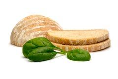 Brot und Spinat Stockbild