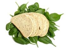 Brot und Spinat Lizenzfreies Stockfoto