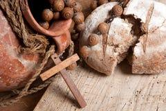 Brot und Wein für Jesus Stockbild