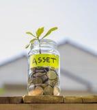 Brotar o crescimento das moedas no frasco de vidro contra o backge da casa do borrão Imagens de Stock Royalty Free