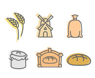 Brotbacken Satz Ikonen Flache Zeichenproduktion des Brotes Weizen Stockfoto