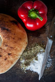 Brotbrettpfeffer Stockfoto