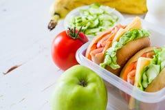 Brotdose mit Sandwich Salat und friuts Lizenzfreie Stockbilder