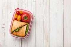 Brotdose mit Sandwich und Tomaten Lizenzfreie Stockbilder