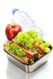 Brotdose mit Sandwichen und Früchten Stockbild