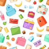 Brotdosevektor-Schulelunchbox mit gesunden Lebensmittelfr?chten oder -gem?se boxte - im Kinderbeh?lter im Taschenillustrationssat stock abbildung