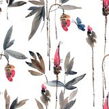 Brotes de flor de la acuarela stock de ilustración