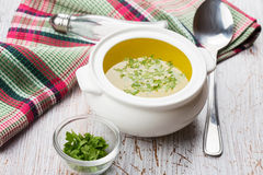 Broth in bowl Royalty Free Stock Photography