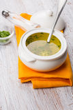 Broth in bowl Royalty Free Stock Photo