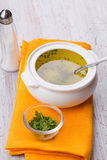 Broth in bowl Stock Image