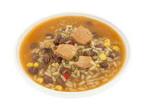 Broth with chicken beans, rice and veggies Stock Images