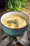 Broth - chicken soup in a blue bowl. Broth - chicken soup with noodles in a blue bowl Royalty Free Stock Photos