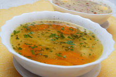 Broth , chicken soup Royalty Free Stock Images