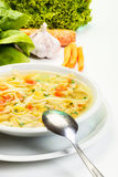 Broth - chicken soup with noodles Royalty Free Stock Photo