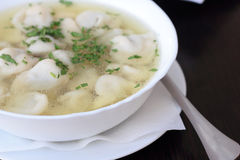 Broth with dumplings. Stock Photography