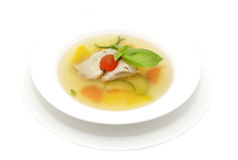 Broth with quail Stock Image