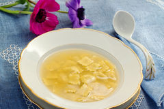 Broth with ravioli Royalty Free Stock Images