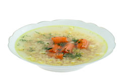 Broth soup with dill. Royalty Free Stock Image