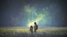 Free Brother And Sister Looking At Beautiful Sky Stock Images - 164186474