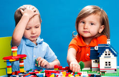Brother And Sister Playing With Construction Blocks Royalty Free Stock Photography