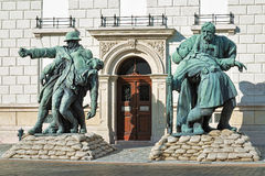 The Brother-in-Arms statues in Budapest, Hungary Stock Images