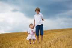 Brother and baby sister walking in a golden wheat field Royalty Free Stock Image