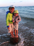 Brother boys on the sea Stock Image