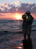 Brother boys on the sea shore Stock Photography