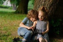 Brother con la hermana de 7-9 años se sienta debajo de un árbol y mira en el ordenador portátil Fotos de archivo