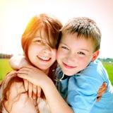 Brother feliz y hermana Fotografía de archivo libre de regalías