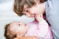 Brother and his baby sister Stock Photography
