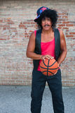 Brother in the hood with basketball Royalty Free Stock Photo
