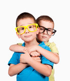 Brother hug. Embrace the twins isolated on white background Royalty Free Stock Images