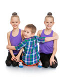 Brother hugs his sisters Royalty Free Stock Photos