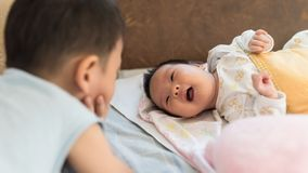 Brother and little sister smile Royalty Free Stock Photos