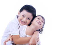 Brother love his sister - isolated Royalty Free Stock Photo