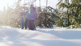 Brother plays with his younger sister in a snow-covered forest stock video