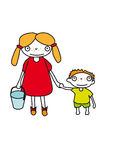 Brother and sister. A big sister holding a small bucket in one hand and her younger brother in her other hand Royalty Free Stock Photography