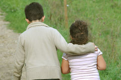 Brother and sister. The girl is scared.Boy is taking care of his sister Royalty Free Stock Photography