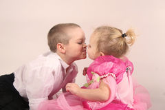 Brother and sister. Two cute kids sharing a moment of love royalty free stock images