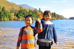 Brother and sister. The portrait of a brother and his sister taken at Yunoko Lake, Tochigi,  Japan Royalty Free Stock Photos