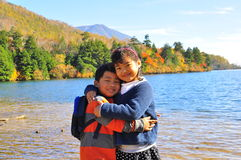 Brother and sister. The portrait of a brother and his sister taken at Yunoko Lake, Tochigi,  Japan Stock Image