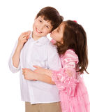 Brother and sister. Brother sister posing together isolated Stock Images