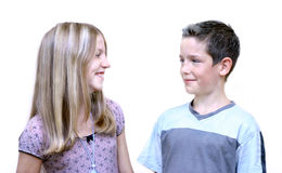 Brother And Sister. Two teens (brother and sister). Kids are 12 and 13 years old Royalty Free Stock Images