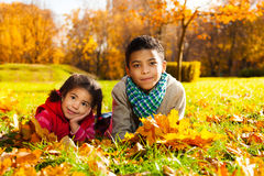 Brother and sister on autumn lawn Stock Photography