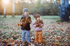 Brother and sister in the autumn park Stock Photos