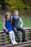 Brother and sister in autumn park Royalty Free Stock Photos