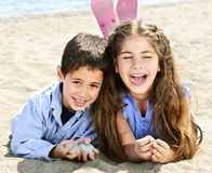 Brother and sister at beach Royalty Free Stock Images