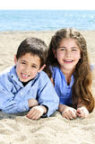 Brother and sister at beach Royalty Free Stock Image