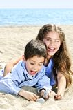 Brother and sister at beach Royalty Free Stock Photo